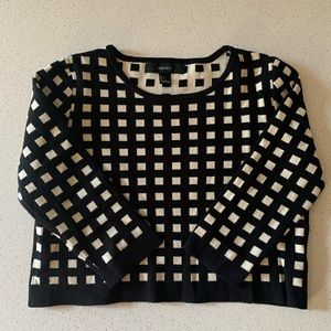 F21 Cropped Grid Printed Sweater
